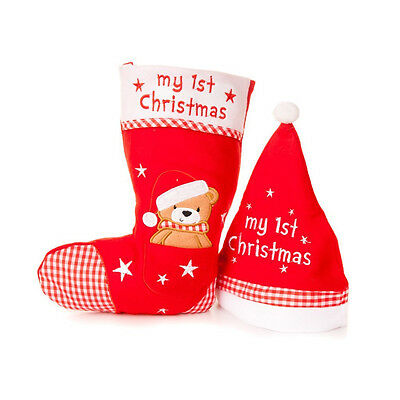 Baby's 1st First Christmas Hat & Teddy Bear Stocking Set