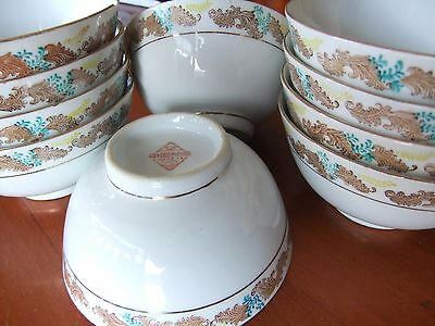 Delightful little vintage Chinese Rice Bowls, set of 10.