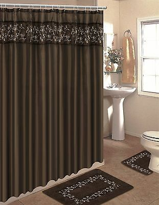 Embroidered Hesv Brown  15-Piece Bathroom Set Bath Rugs Shower Curtain & Rings