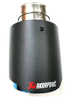 Universal AKRAPOVIC Exhaust Tips Pipe Carbon Fiber / blue stainless steel