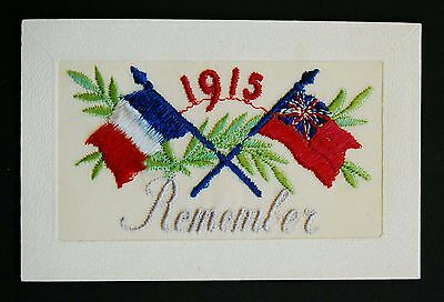 Dated 1915 WW1 Silk Postcard Remember British French Flags