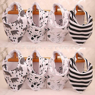 4 Pcs/Set Infants Toddler Baby Bandana Drool Bibs For Boys Girls Scarf Snaps New