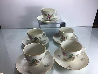 Set Of 5 Royal Copenhagen Frijsenborg Flat Tea Cups And Saucers 910 1870