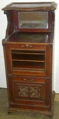 Music Cabinet  Victorian Antique Carved Glazed with Mirror In Top Section