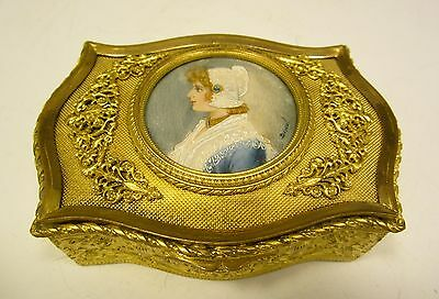 Antique French Gilt Bronze Box with Portrait Miniature Hand Painted Signed