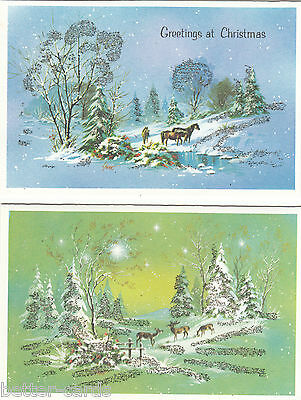 Set of 2 Vintage 1970's Happy Christmas Glittered Greeting Cards ~ Merry Snow ~