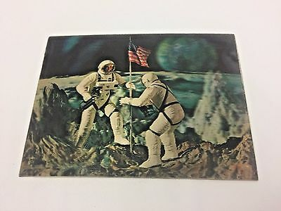 Vintage Vari-Vue 3D Postcard Astronauts on Moon Space 1969 Collectible