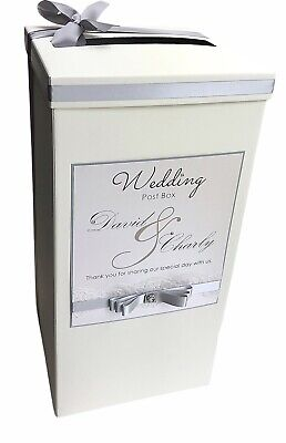 Personalised Diamante, Pearl & Lace Wedding Post Box. Card Box. Any Colour!
