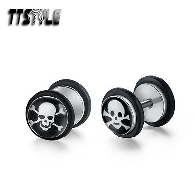 TTstyle 8mm Clear Epoxy Surgical Steel Skull Fake Ear Plug Earrings A Pair