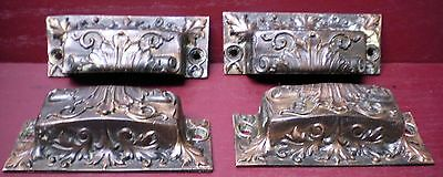 4 Antique Distinctive Cast Brass Very Fancy Bin Drawer Pulls Handles #01