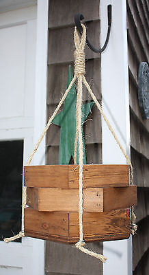 Hanging Rope Garden Porch Planter Octagon hexagon wide stained Wooden