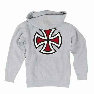 Independent Trucks BAR AND CROSS PULLOVER Skateboard Hoodie ASH LARGE