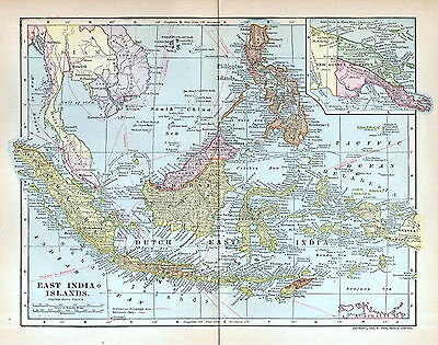 EAST INDIA ISLANDS Antique Map 1903 Dodd Mead Philippines Malaysia Indonesia