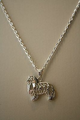 Shetland Sheepdog Sheltie Cute Pendant, Chain 18""