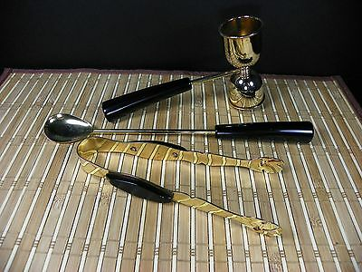 Vintage Gold Plated and Bakelite Handled Glo-Hill Martini Cocktail Bar Tools Set