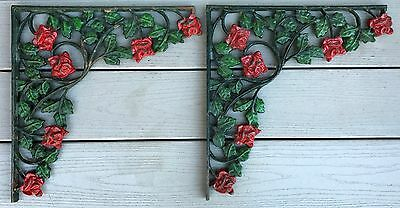 "Antique Pair Large Cast Iron Floral Shelf Brackets Entry Corbels 15"" x 14.5"" USA"