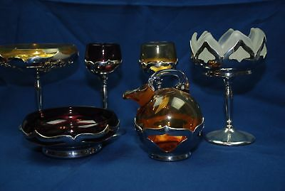 6 pc lot Art Deco Farber Bros. Krome-Kraft Compote Bowl Glasses Pitcher