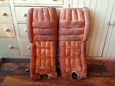 "Vintage Brown Leather 29"" Hockey Goalie Pads Unknown Brand"