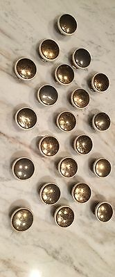 21 Vintage Cream And Brass Cabinet Drawer Pulls / Knobs