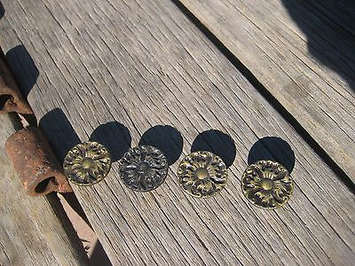 "Vintage 1"" Diameter Ornate Brass Drawer Cabinet Knob Pull Set of 4"