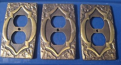 Vintage ** AMEROCK ** Metal 1-Gang Duplex Outlet Receptacle Wall Plate Set of 3