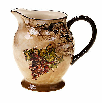 Wine Country Design Certified Hand Painted Stoneware Tuscan View Water Pitcher