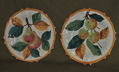 2 Vintage Egisto Fantechi Pottery Hand Painted Fruit Plates Pears Italian SIFMA