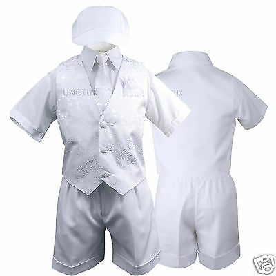 New 5pc White Boy Baby Toddler Baptism Christening Paisley Vest Shorts Suit S-4T