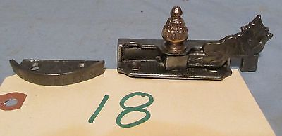 Window sash lock swing arm cast iron with brass knob vintage