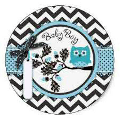 Set Of 12 Baby Shower Grey And Blue Owl Cake Bags