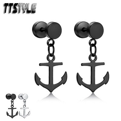 TTstyle Surgical Steel Ancor Dangle Earrings Silver/Black A Pair NEW