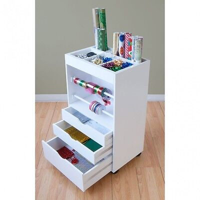 Wrapping Paper Organizer Cart Storage Craft Room Station Caddy On Wheels Drawers