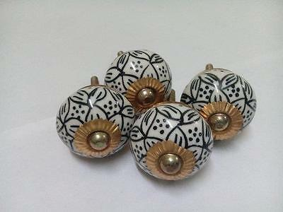 Set of 4 Pcs Beautiful Black Floral Printed Indian Handmade Ceramic Door Knobs