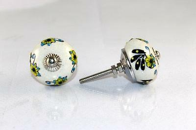 2 Pcs Indian Hand Printed Handmade Round Ceramic Door Knobs Home Decore Antique