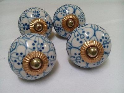 4 Pcs Indian Handmade Blue Floral Printed Ceramic Door Knobs for Kitchen, Kids
