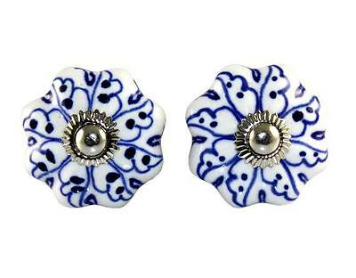 2 Pc Hand Printed Indian Handmade Pumpkin Ceramic Door Knobs Home Decore Antique