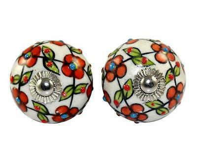 Hand Printed Indian Handmade Round Ceramic Door Knobs Home Decore Antique