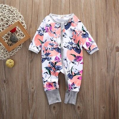 Cute Newborn Infant Baby Girls Floral Bodysuit Romper One-piece Clothes Outfits