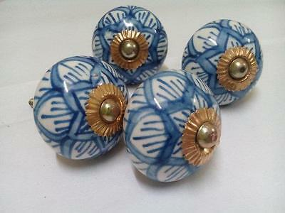 2 Pair Beautiful Blue Printed Indian Handmade Ceramic Door Knobs for Kitchen