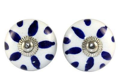Indian Hand Printed Handmade Round Ceramic Door Knobs Home Decore Antique