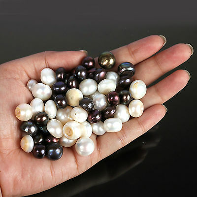 100.00 Cts GORGEOUS BUTTON SHAPED TAHITIAN BLACK & WHITE FRESHWATER PEARLS LOT