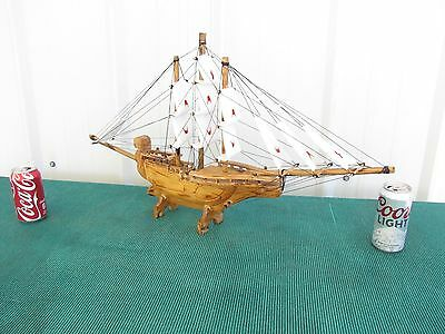 "Vintage Wood Wooden Model Sailboat Pond Boat Yacht Ship 16"" x 30"""