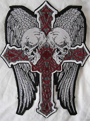Rare Large Eagle Wings Scull Cross Motorcycle Biker Embroidered Sew Badge Patch