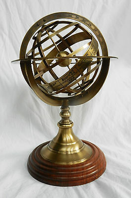 Large Antique Style Brass Armillary Sphere with Wooden Mount  - BNIB