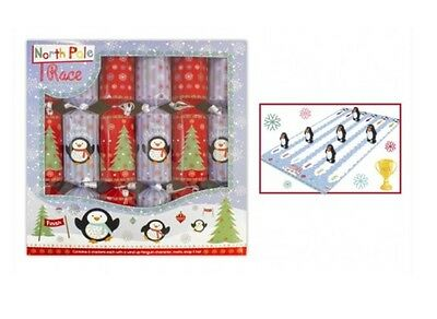 Pack Of 6 Family Crackers Racing Penguin Christmas Game Crackers WindUp Penguins