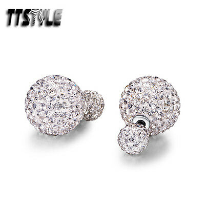 TTstyle 16mm Surgical Steel Clear Swarovski Crystal Ball Earrings A Pair