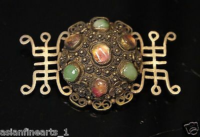 18th Century Vintage Old Antique Silver w/ Multi Gemstones Brooch Jewelry 852