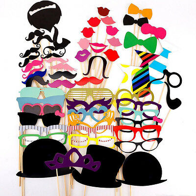 58PCS Photo Booth Party Props Set Moutache on a Stick Wedding Birthday DIY