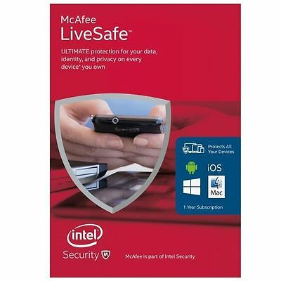 McAfee LiveSafe Antivirus Windows/Mac/Android Unlimited devices for 1 year