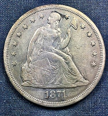 1871 Seated Liberty Dollar XF Details